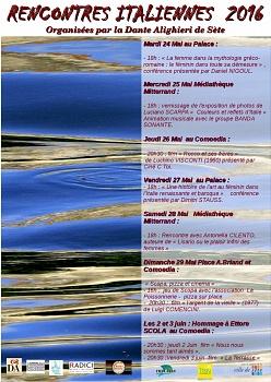 """""""Couleurs et reflets d'Italie"""" 25 maggio- 1 giugno 2016- Médiathèque Mitterrand- Sète- Rencontres Italiennes 2016 organisées par la Dante Alighieri de Sète (Francia)"""