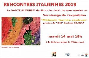 """RENCONTRES ITALIENNES 2019""  Du mardi 14 au samedì 18 mai 2019 Médiathèque  F .Mitterrand - Sète"